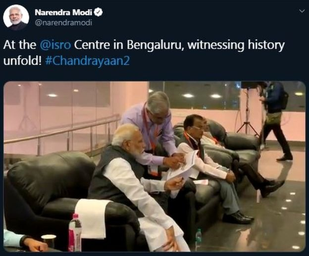 Did Modi see the camera and hug the head of the ISRO 3
