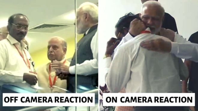 Did Modi see the camera and hug the head of the ISRO
