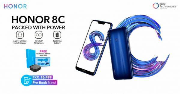 Pre booking of smartphone Honor 8C what are features and colors  available Details come up