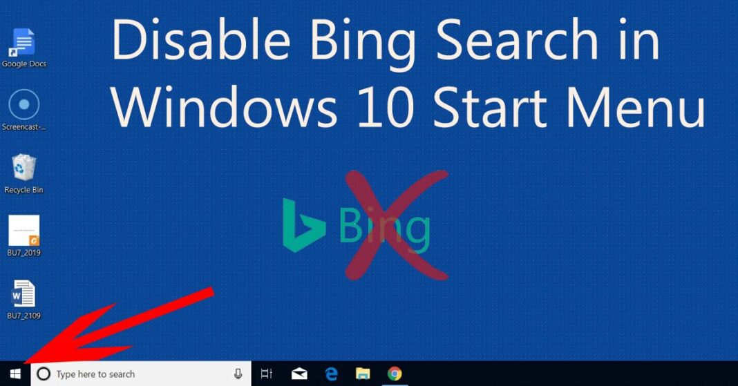 Bing Search in Windows 10